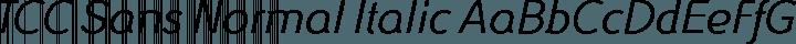 TCC Sans Normal Italic free font