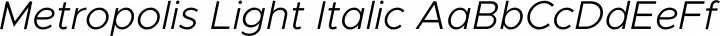 Metropolis Light Italic free font