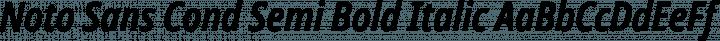 Noto Sans Cond Semi Bold Italic free font