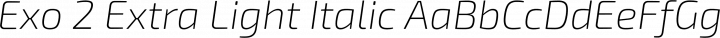 Exo 2 Extra Light Italic free font